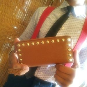 REBECCA MINKOFF Studded Zip Wallet Clutch